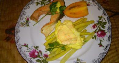 """Вкусный рецепт """"Стручки фасоли с лимонным соусом"""" приготовленные в домашних условиях"""