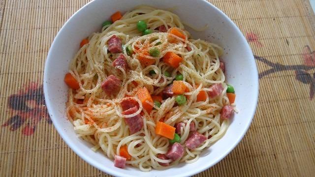 Салат из спагетти с овощами и салями