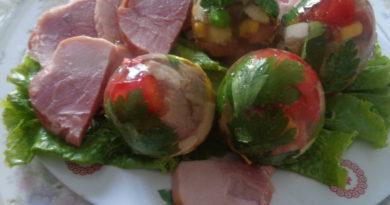 Заливное мясо с овощами