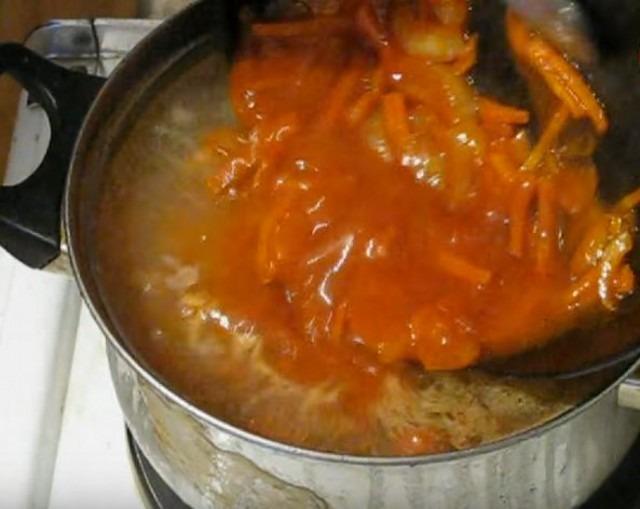 зажарку отправляем в суп
