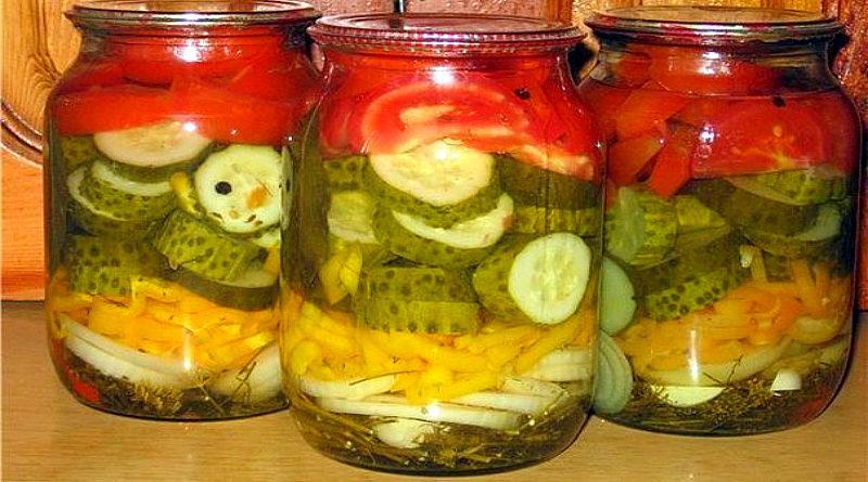 салат на зиму из огурцов и помидор капусты пальчики оближешь