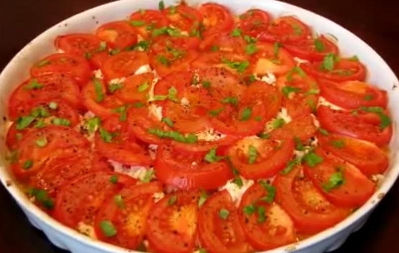 Тыква запечённая с помидорами