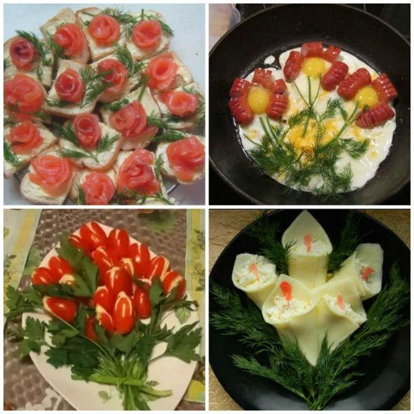 цветы из продуктов
