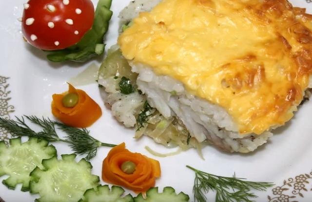 рыбное филе с рисом и сыром