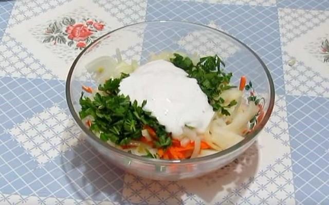 заправить овощи