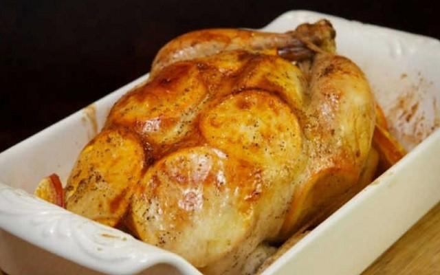 Курица с хрустящей корочкой и апельсинами