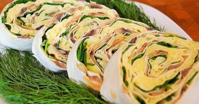 Лаваш — рецепты приготовления рулетов с грибами и другими дополнительными начинками