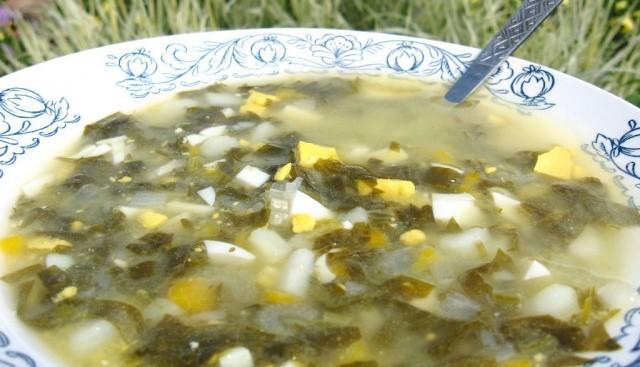 готовый щавелевый суп