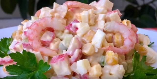 Рецепты салатов из крабовых палочек и креветок